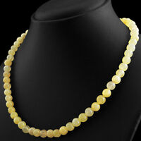199.50 CTS NATURAL ROUND SHAPE RICH YELLOW AVENTURINE UNTREATED BEADS NECKLACE