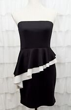i.JOAH Womens S Black White Cocktail Tight Mini Dress Tube Top Ruffles Clubwear