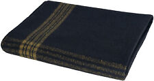 """Military Wool Blanket 62"""" x 80"""" Navy with Gold Stripe"""