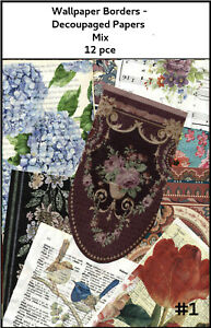 PAPERS & WALLPAPER BORDERS- 12 pce. DECOUPAGED PAPERS Junk journals, Crafts