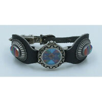 VINTAGE .925 Sterling Silver Multi-gemstone Turquoise Leather Wristwatch WATCH