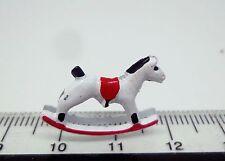 Rouge & blanc cheval à bascule, dolls house miniature nursery mobilier jouets