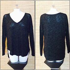 Rock & Republic Women's Large Gray Black Long Sleeve V-Neck Tunic Shirt (D2