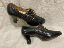Orig Vtg 30s Womens Black Leather Strap W Buttons Dress Shoes Small Size