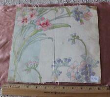 """Antique French Art Nouveau Pink Floral Wide Ribbon Sample c1890-1910~10"""" Square"""