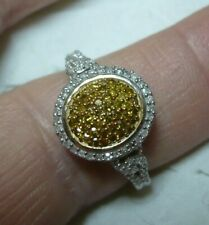 Yellow & White Diamond Ring Size 10  108 diamonds 1.0tcw  MSRP$1827.00