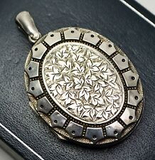 1889 Antique STERLING SILVER Ivy Leaf Engraved Victorian Large Unusual LOCKET