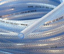 "1/4"" 6mm ID 10 Ft High Pressure Braided PVC Tubing Clear Hose Braid Reinforced"