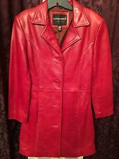 NEW WOMEN'S TANNERS AVENUE VINTAGE COW NAPA RED LEATHER JACKET 3/4 COAT SIZE S