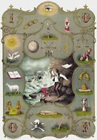 IOOF International Order of Odd Fellows Victorian Morality Certificate Poster