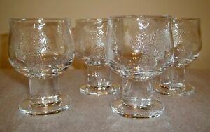 """FOUR 'Arabia Crystal' SILJA Glasses with Raised Thistle Pattern 3-3/4"""""""