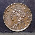 1843 Large Cent - Petite Head, Small Letters - AU Details (#39745)