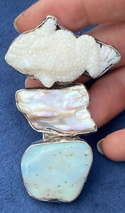 Rebecca Collins Sterling Silver 925 biwa pearl and carved opal pin brooch, 35.5g