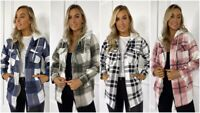 Womens Check Fleece Casual Hooded Jacket Shacket Top Shirt Coat Oversize Baggy