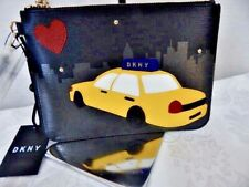 "NWT DNKY Black Yellow Cow Leather TAXI IPhone Wristlet Trendy Case-$78 tag 8""x6"""