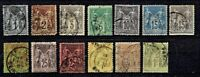 1876- FRANCE Peace and Commerce Ty II U/N  Lot of 13Sc#78- Used Incl Scarce#93