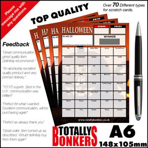 HALLOWEEN  FUNDRAISING SCRATCH CARDS  - 40 SQUARES - FOOTBALL CARD