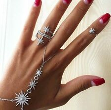 Star Palm BACK HAND Bracelet Nail Finger Love Ring 925 Sterling Silver Bangle