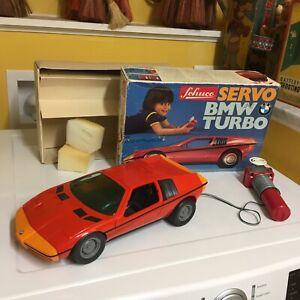 RARE FULLY FUNCTIONING VINTAGE SCHUCO SERVO BMW TURBO W/TETHERED R/C. W/BOX!