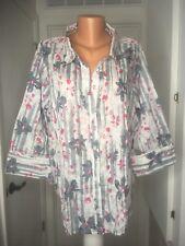 Denim  Co button blouse shirt top pink gray white floral 3x new