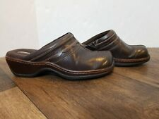 Softwalk Brown Leather Mules Slip On Clogs Shoes Wedges Women's Sz 9W Soft Walk