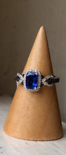 NEW Genuine Kyanite, Black Spinel & White Zircon Infinity Ring, Platinum Size 5