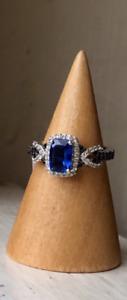 NEW Genuine Kyanite, Black Spinel & White Zircon Infinity Ring, Platinum, Size 5