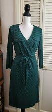 Talbots Womens Dress S Navy Green Geometric Print Faux Wrap 3/4 Sleeves