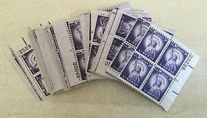 #1035  3 cent STATUE OF LIBERTY A lot of 25 Plate blocks of 4 Mint NH OG