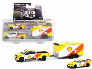 """1:64 Hitch & Tow -- 2019 Ford F-350 & 2021 Mustang """"Shell Oil"""" -- Greenlight"""