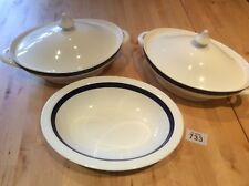Two Vintage  Bright White & Cobalt Blue Trim Lidded Tureens & Matching Dish