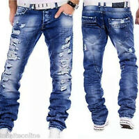 Fashion Men's Ripped Skinny Biker Jeans Destroyed Blue Slim Fit Denim Pants