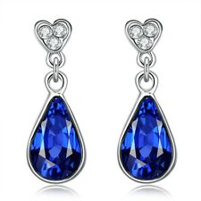 925 Silver London Blue Topaz  & White Topaz Trillion-Cut Leverback Drop Earrings