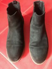 Zara Man Black Suede Pull On Flat Ankle Chelsea Boots size 43