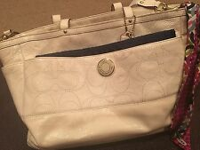 Coach Weekender Diaper Bag & Wallet- Cream/White