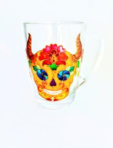 Skull mug, Hand painted skull mug, Skull coffee mug, Personalized Skull