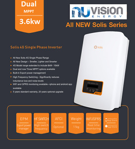 Solis 3.6kW 4G Dual MPPT ON GRID Solar PV Inverter IP65 5 YEAR WARRANTY