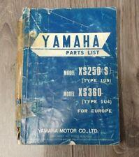YAMAHA XS250(S) (TYPE 1U5) XS360 (TYPE 1U4) PARTS LIST 1U4-28198-E5