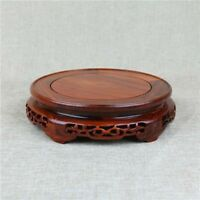 Rosewood pedestal solid wood round Base Display stand For vase statue 8.5 inch