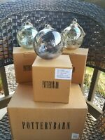 LOT of 3 LARGE Etched Glass Balls POTTERY BARN Christmas ORNAMENTS L@@k!