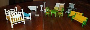 Vtg 1980 Mattel The Littles Dollhouse Furniture Metal Bedroom Bathroom Kitchen