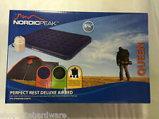 NORDIC PEAK QUEEN PLUSH FLOCKED INFLATABLE AIR BED MATTRESS AIRBED PUMP & CASE
