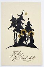 Beautiful Art Deco NATIVITY Silhouette Gold Star CHRISTMAS Postcard