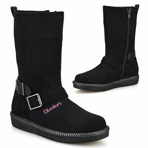 Girls Skechers Zip Up Memory Foam Warm Winter Mid Calf Biker Boots Shoes Size
