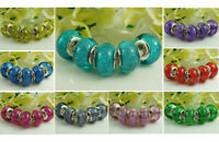 50pcs Colorful murano Charm beads Fit DIY European Bracelet Jewelry beaded A3