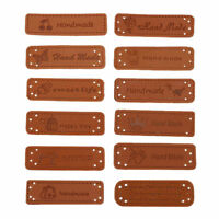 10PCS Handmade Labels PU Leather Tags Clothes Bags DIY Sew On Patch Accessories