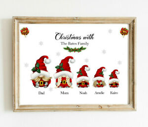 Personalised Christmas GNOMES Family Word Art Print Picture Stocking filler Gift