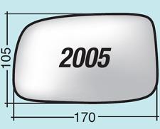 Vetro specchietto Daihatsu Sirion dal 2005 al 2007 destro senza piatt. 2005D