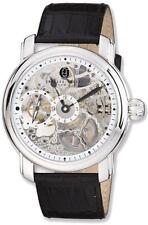 Mens Charles Hubert Leather Band Skeleton Dial Handwind Watch