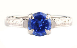Natural Blue Tanzanite 1.50Ct Round Cut Engagement Ring In 14KT Solid White Gold